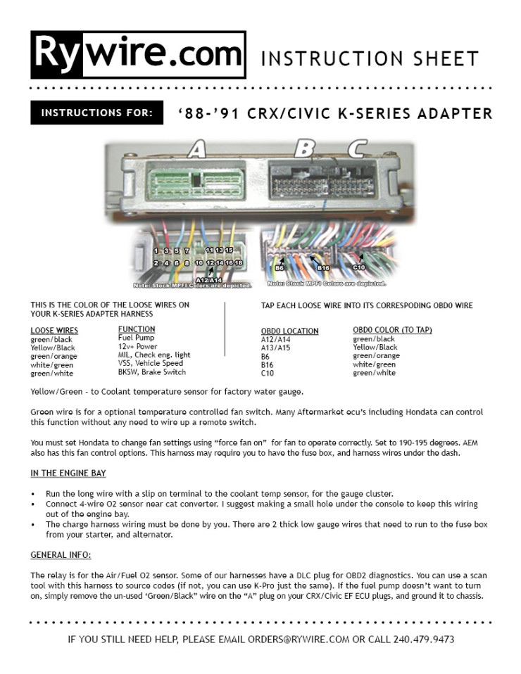 8891 crx/civic ef kseries adapter instructions  rywire