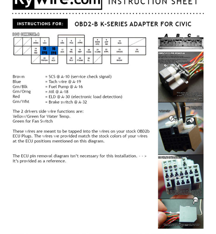 99-00 OBD2b Civic K-series Adapter Instructions | Rywire Blog ...